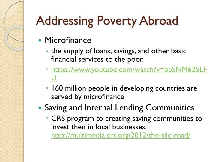 Addressing Poverty Abroad