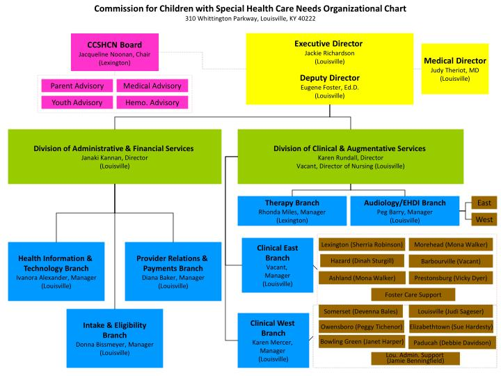 Commission for Children with Special Health Care Needs Organizational Chart