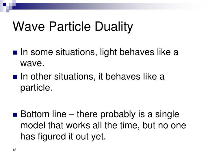 Wave Particle Duality