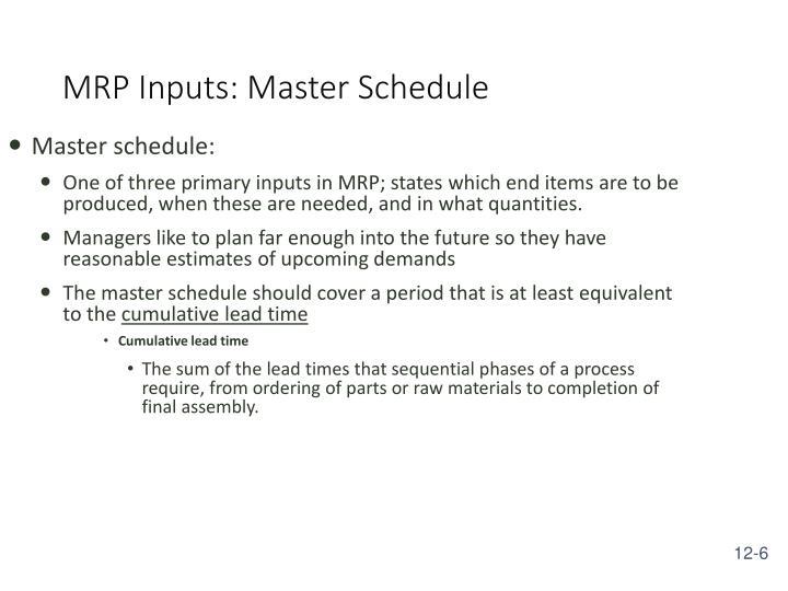 MRP Inputs: Master Schedule