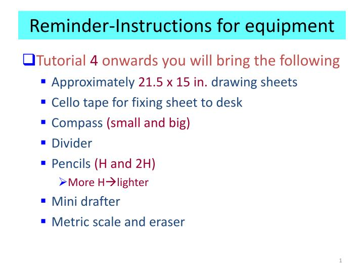 reminder instructions for equipment n.
