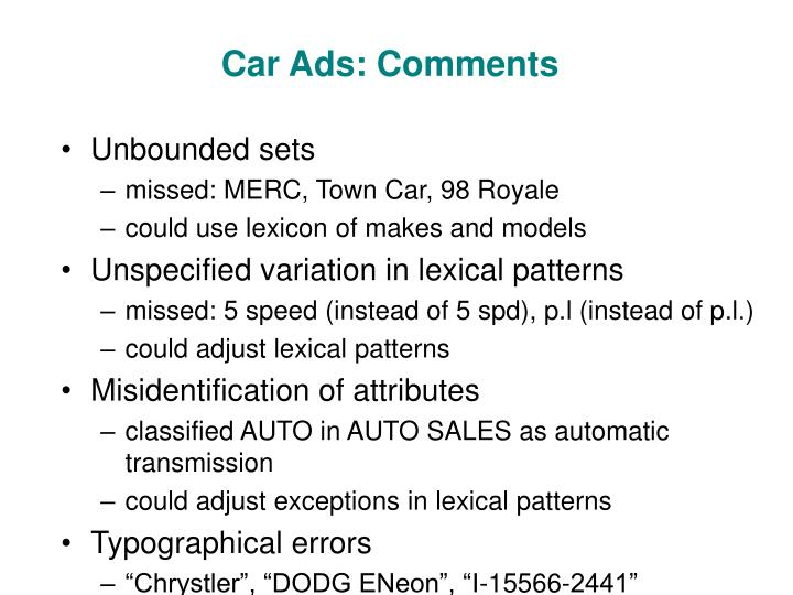 Car Ads: Comments