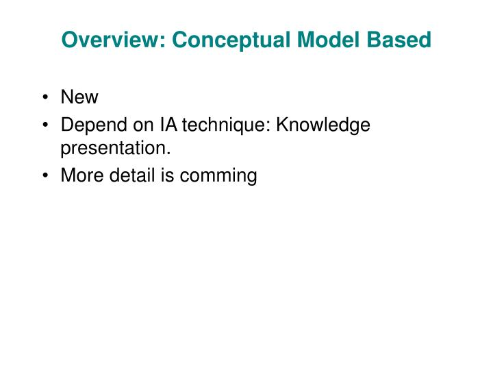 Overview: Conceptual Model Based