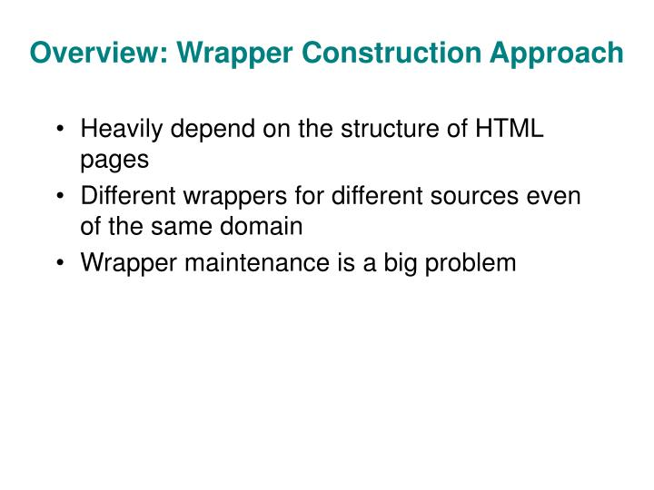 Overview: Wrapper Construction Approach