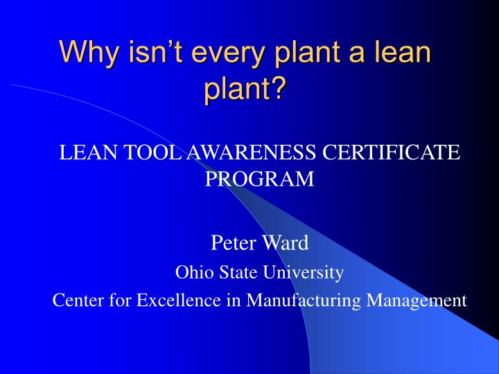 why isn t every plant a lean plant n.