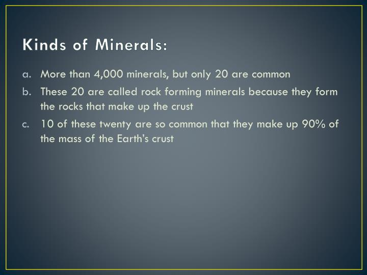 Kinds of Minerals: