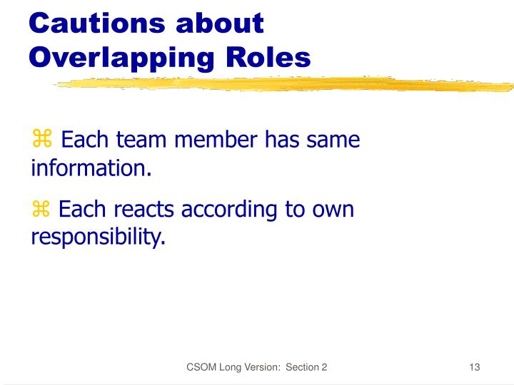 Cautions about Overlapping Roles