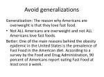 avoid generalizations