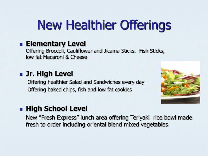 New Healthier Offerings