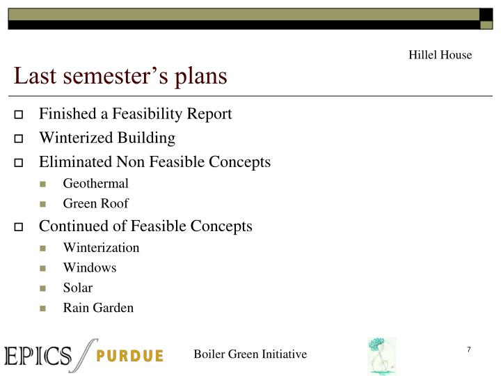 Last semester's plans