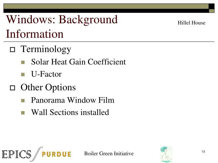 Windows: Background Information