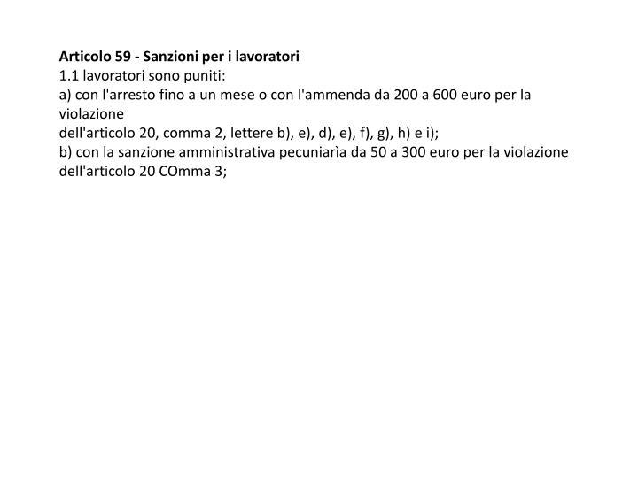 Articolo 59 - Sanzioni per i lavoratori