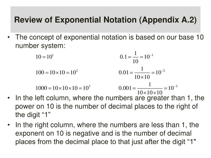 Review of Exponential Notation (Appendix A.2)
