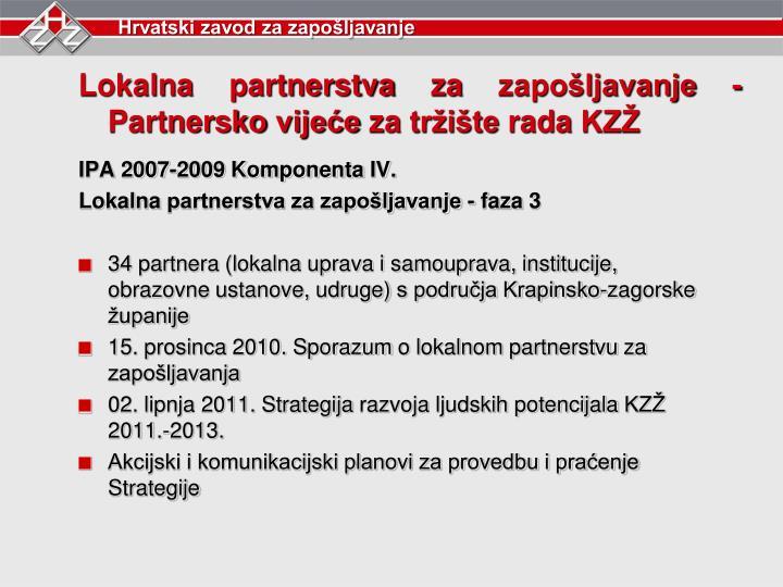 Lokalna partnerstva za zapošljavanje -Partnersko vijeće za tržište rada KZŽ