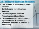 20 1 oxidation reduction reactions