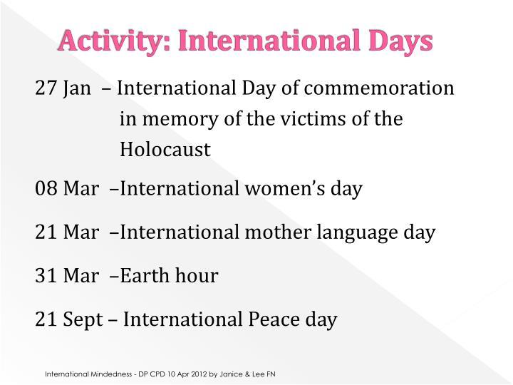Activity: International Days