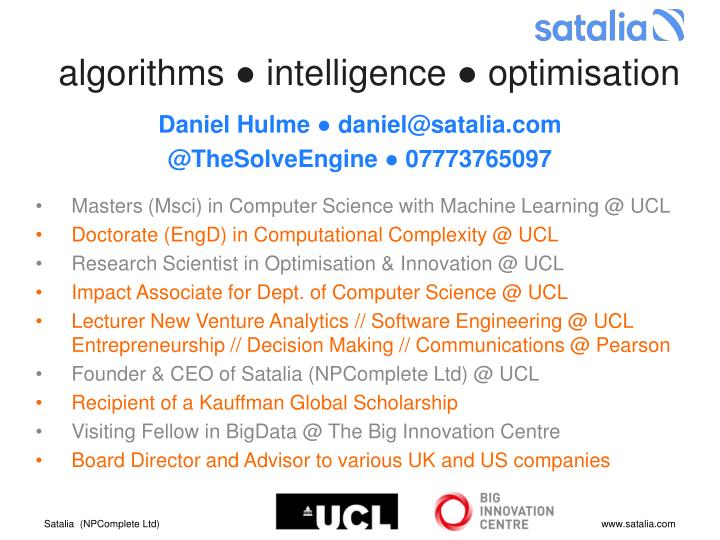 Algorithms intelligence optimisation