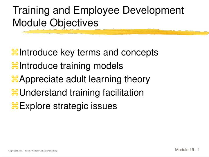 ppt training and employee development module objectives powerpoint