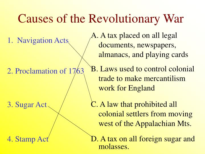 Causes of the revolutionary war1
