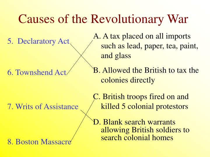 Causes of the revolutionary war2