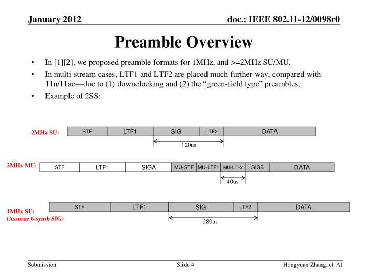 In [1][2], we proposed preamble formats for 1MHz, and >=2MHz SU/MU.