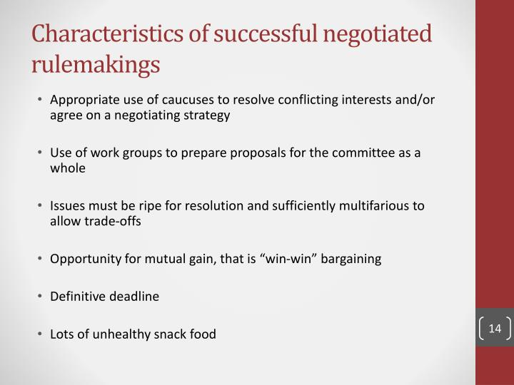 Characteristics of successful negotiated rulemakings