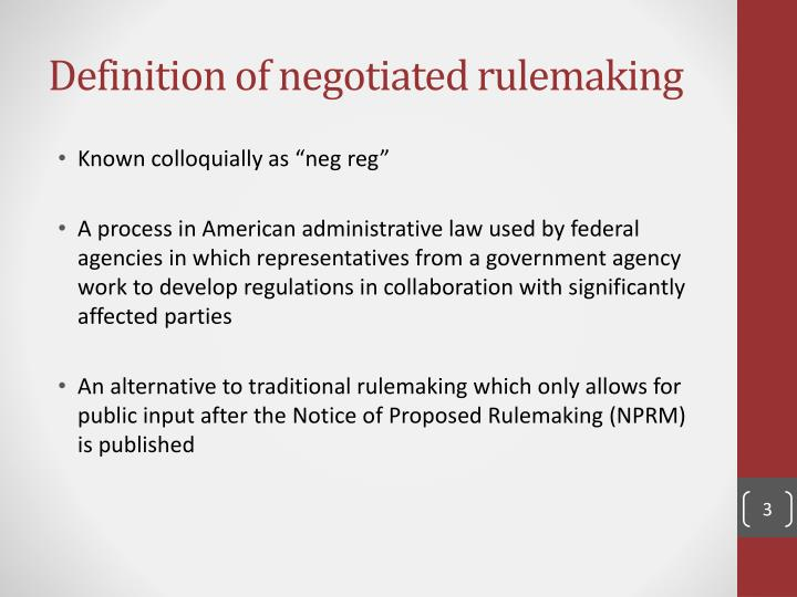 Definition of negotiated rulemaking