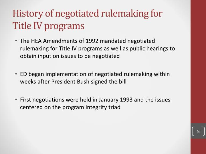 History of negotiated rulemaking for Title IV programs