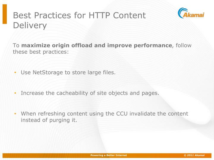 Best practices for http content delivery