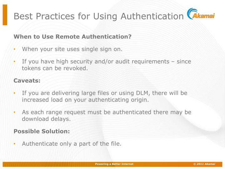 Best Practices for Using Authentication