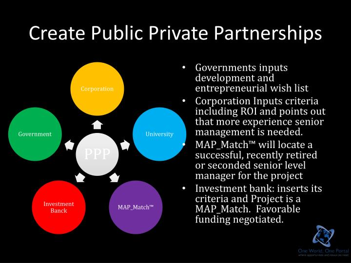 Create Public Private Partnerships
