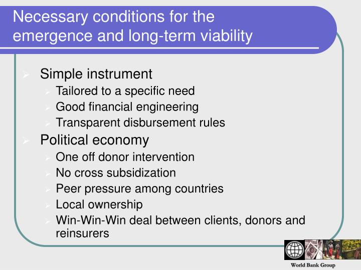 Necessary conditions for the emergence and long-term viability