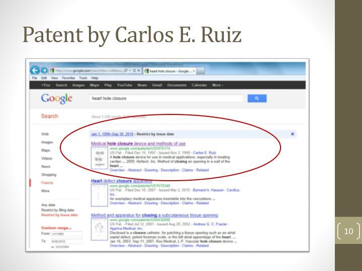 Patent by Carlos E. Ruiz