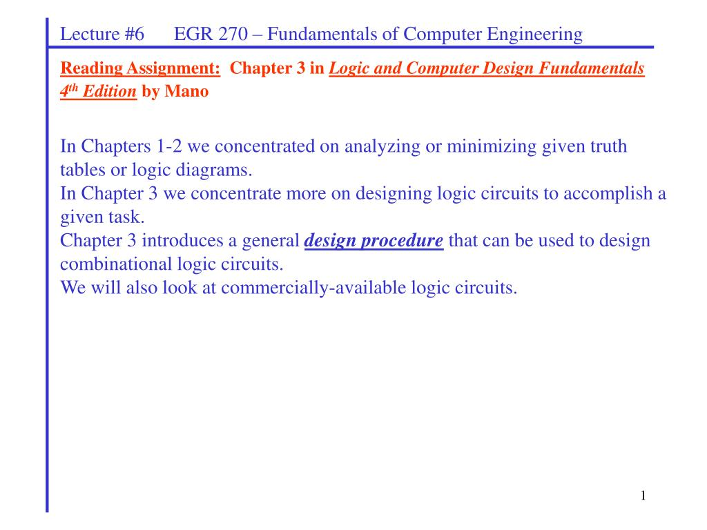 Ppt Reading Assignment Chapter 3 In Logic And Computer Design Bit Magnitude Comparator Diagram Fundamentals 4 Th Edition By Mano Powerpoint Presentation Id2683565
