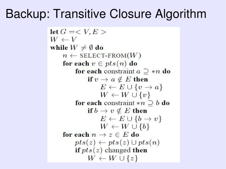 Backup: Transitive