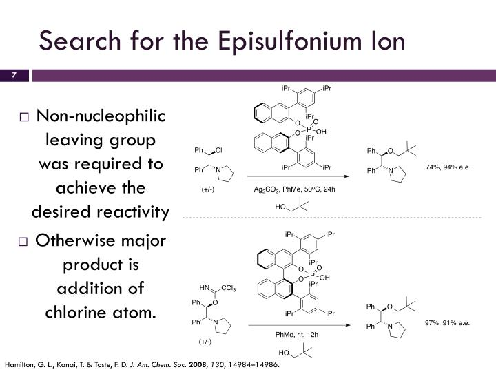 Search for the Episulfonium Ion