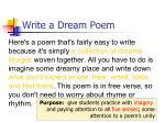 write a dream poem