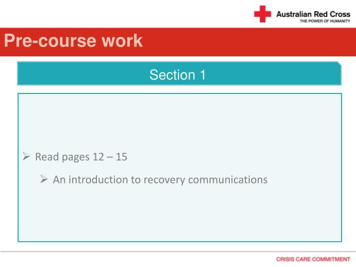 Pre-course work