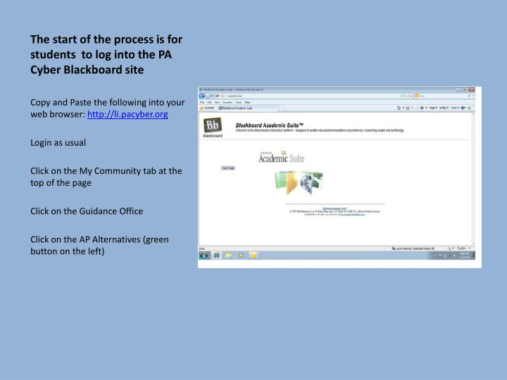 The start of the process is for students  to log into the PA Cyber Blackboard site