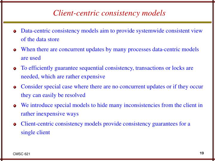 Client-centric consistency models