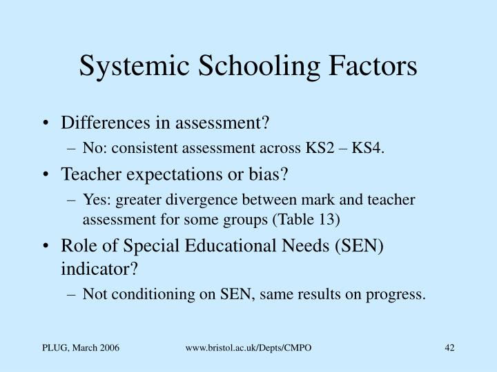 Systemic Schooling Factors