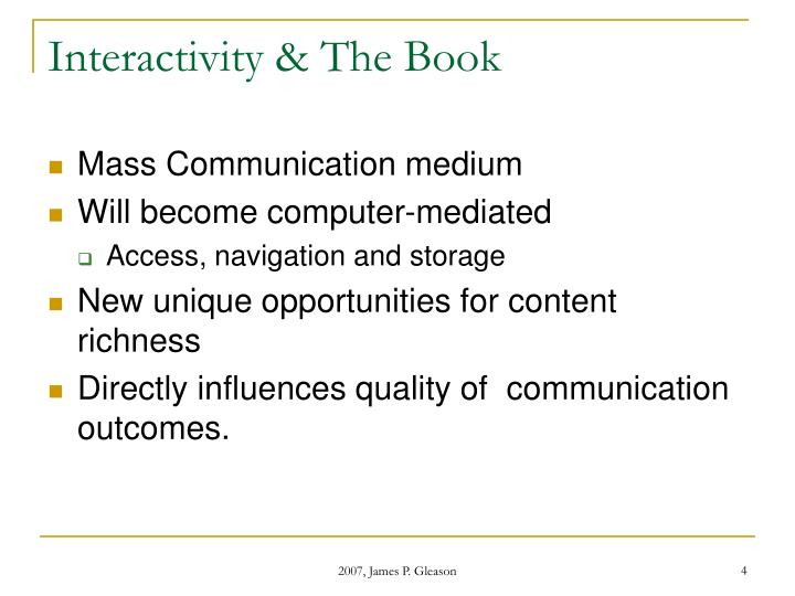Interactivity & The Book