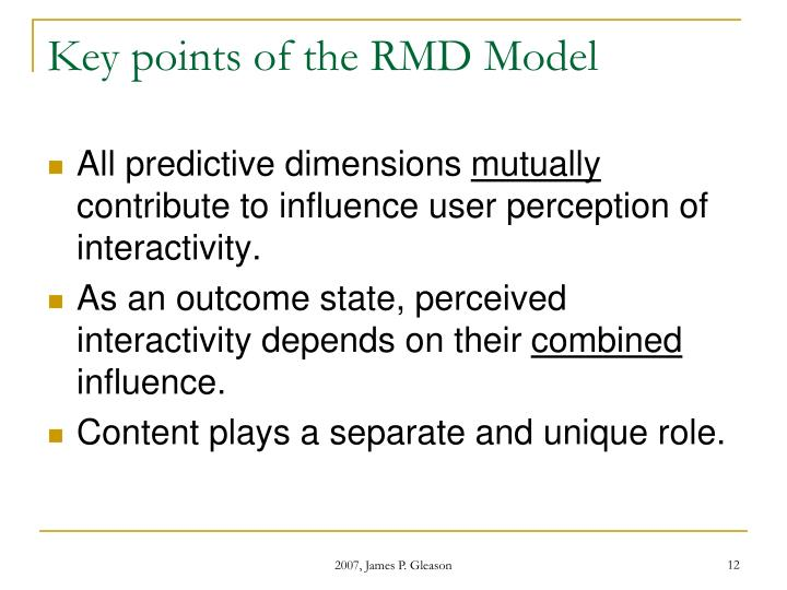 Key points of the RMD Model
