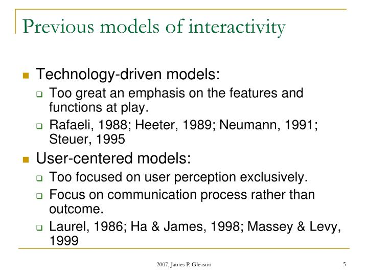 Previous models of interactivity