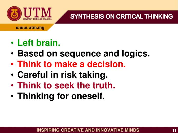 SYNTHESIS ON CRITICAL THINKING