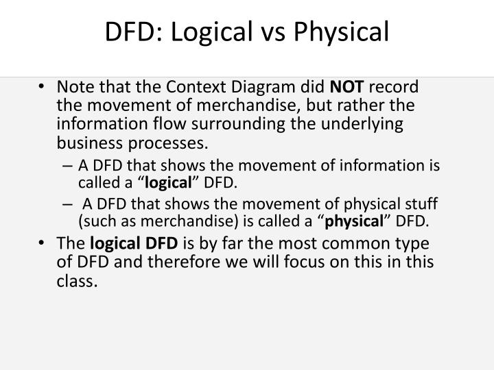 DFD: Logical vs Physical