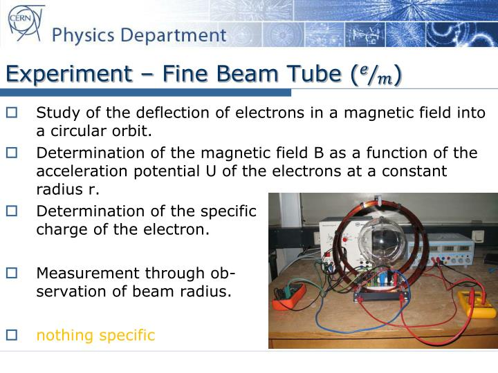 Experiment – Fine Beam Tube (