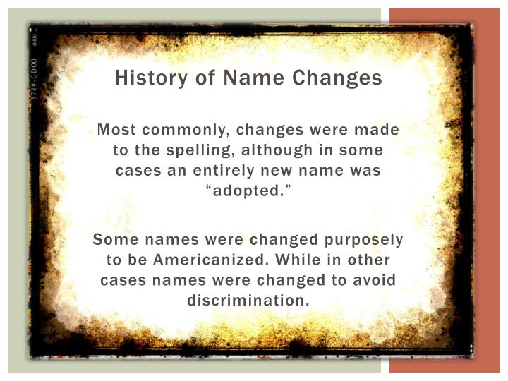 History of Name Changes