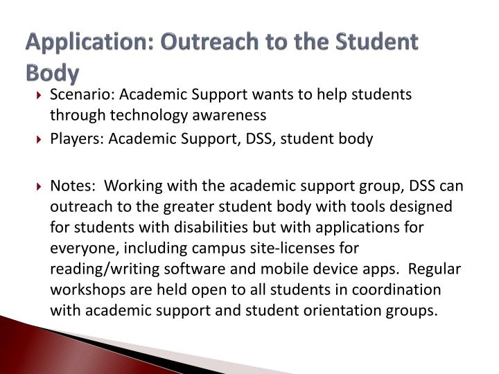 Application: Outreach to the Student Body