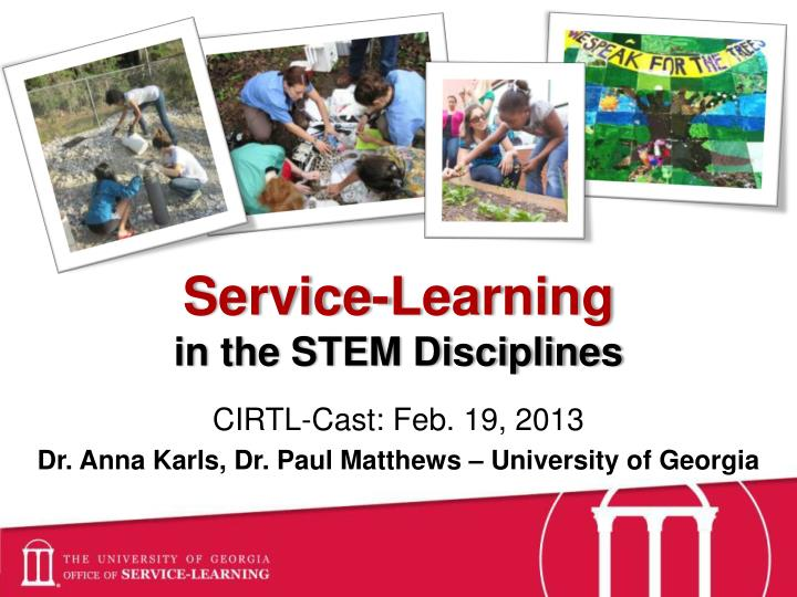 service learning in the stem disciplines n.